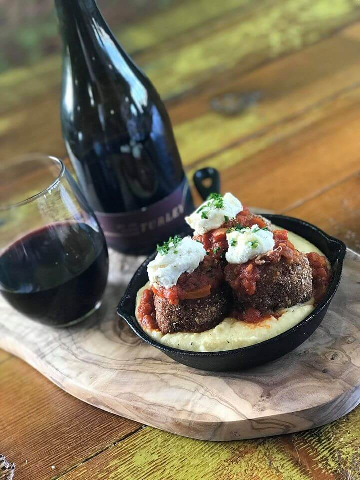 Photo of wine and meatballs